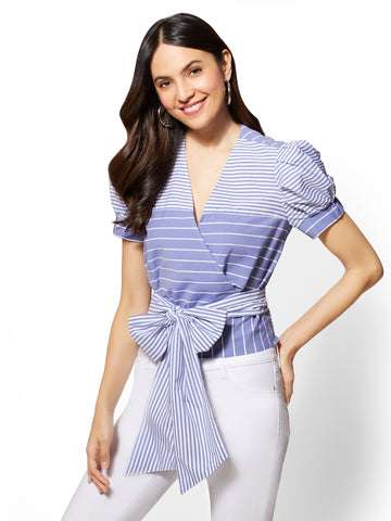 Blue & White Striped Wrap Poplin V-Neck Shirt in Optic White