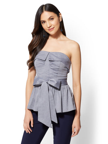 7th Avenue - Blue Strapless Wrap Shirt in Medium Blue