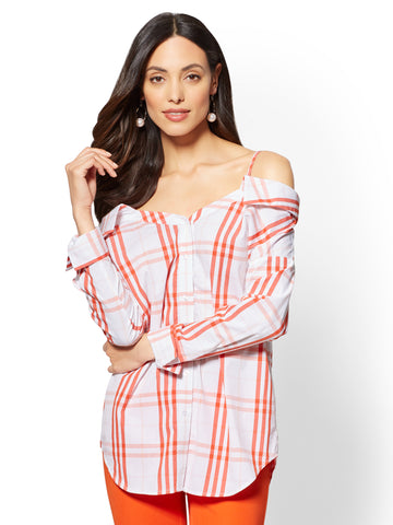 Plaid Convertible Off-The-Shoulder Blouse in Orange Quartz