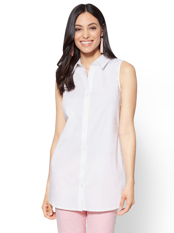 Side-Vent Tunic Shirt in Optic White