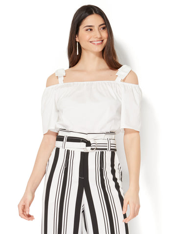 7th Avenue - Bow-Accent Off-The-Shoulder Shirt in Optic White