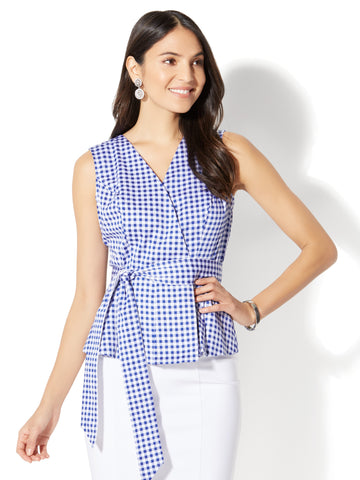 7th Avenue - Peplum Shirt - Gingham in Rhapsody Blue