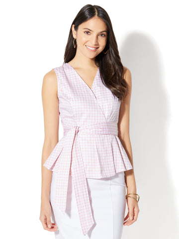 7th Avenue - Peplum Shirt - Gingham in Cherry Blossom