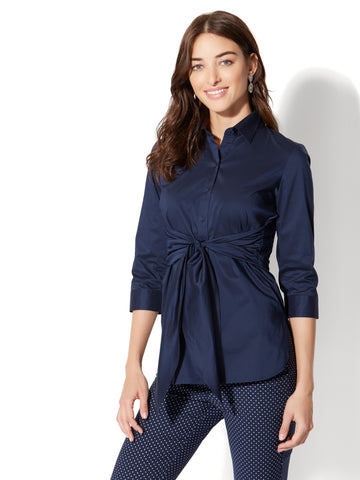 7th Avenue - Madison Stretch Shirt - Tie Waist in Grand Sapphire