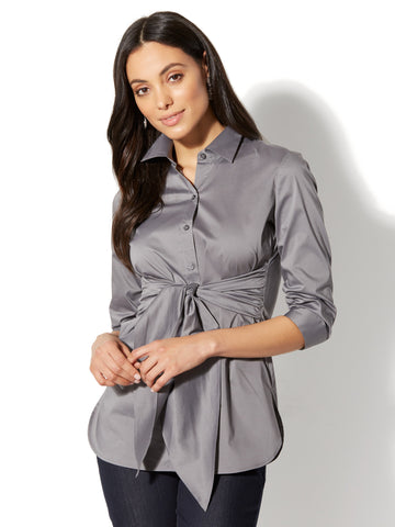 7th Avenue - Madison Stretch Shirt - Tie Waist in Magnetic Grey