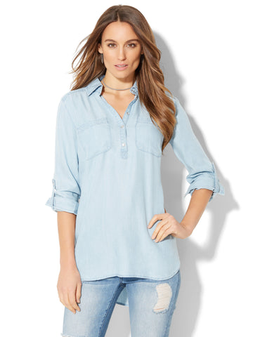 Soho Soft Shirt - Ultra-Soft Chambray Tunic in Light Indigo