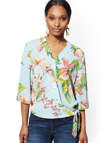 9f86207f9f2d95 New York & Company Floral Wrap Blouse - Soho Soft Shirt in Aqua Marine  Splash
