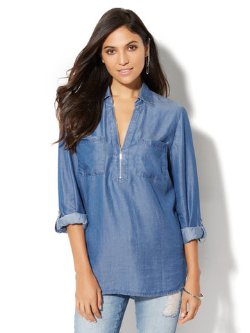 Soho Soft Shirt - Zip-Front - Ultra-Soft Chambray in Dark Blue Wash
