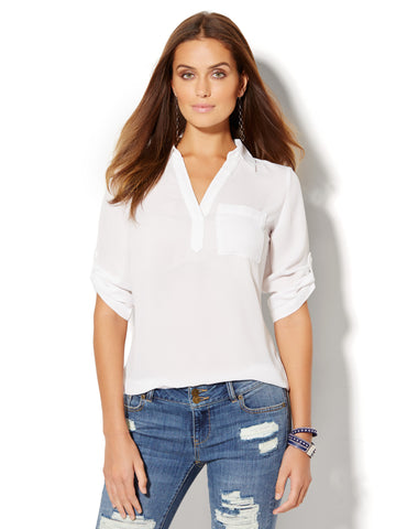 Soho Soft Shirt - One Pocket Popover in Paper White