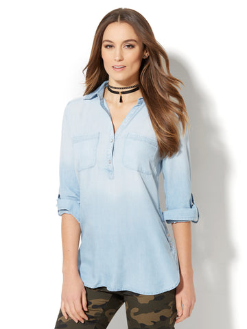 Soho Soft Shirt - Side-Button Hi-Lo Tunic - Ultra-Soft Chambray in Light Blue