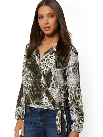 Mixed-Print Wrap Top - Soho Soft Blouse in Woodland Green