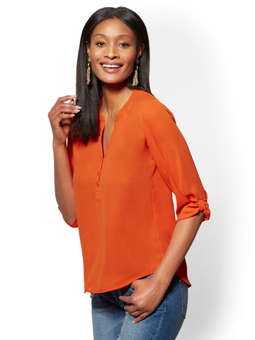 Soho Soft Shirt - Split-Neck Blouse in Orange Quartz