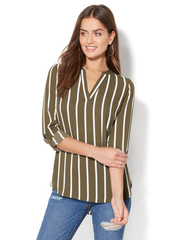 Soho Soft Shirt - Split-Neck Popover Blouse - Stripe in Woodland Green