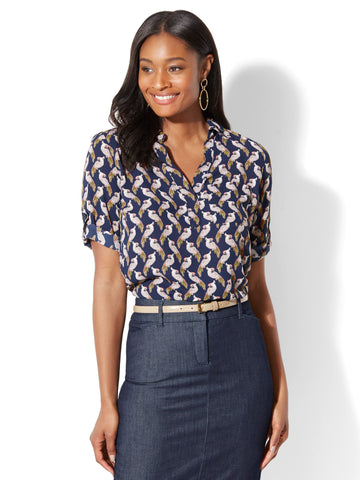 Soho Soft Shirt - One-Pocket Popover - Bird Print in Grand Sapphire