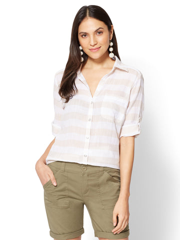 Soho Soft Shirt - One-Pocket - Stripe in Driftwood