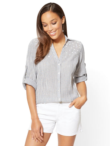 Soho Soft Shirt - Stripe & Star Print in Grand Sapphire