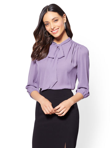 7th Avenue - Bow-Accent Blouse in Purple Vine