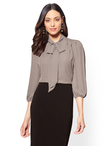 7th Avenue - Bow-Accent Blouse in Carlson Grey
