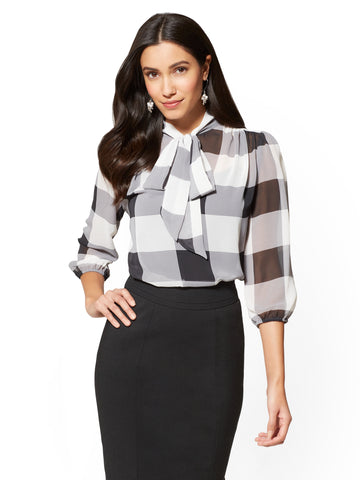 7th Avenue - Bow-Accent Blouse - Gingham in Paper White