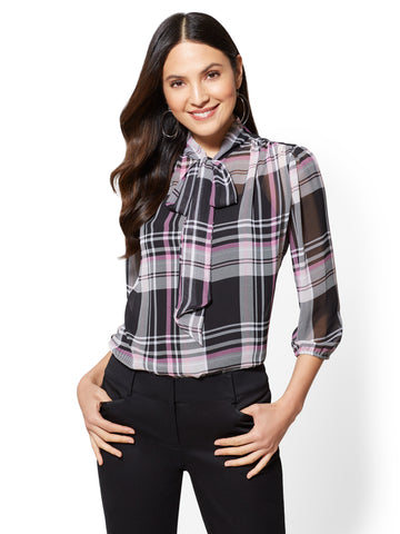 7th Avenue - Plaid Bow-Accent Blouse in Pink Flamingo