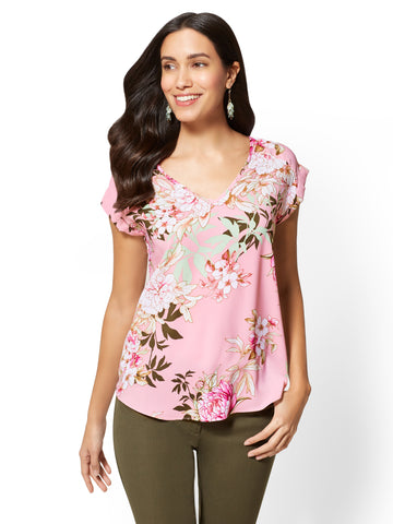 7th Avenue - V-Neck Short-Sleeve Blouse in Milk And Berries