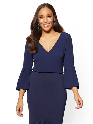 7th Avenue - Bell-Sleeve V-Neck Blouse in Grand Sapphire