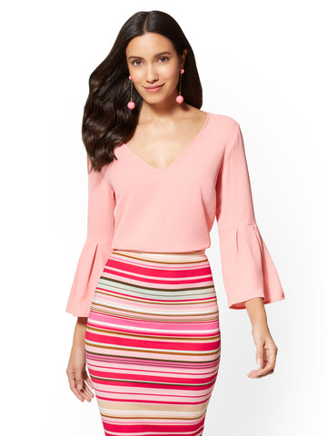 7th Avenue - Bell-Sleeve V-Neck Blouse in Park Avenue Pink