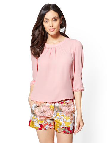 7th Avenue - Button-Back Blouse in Park Avenue Pink