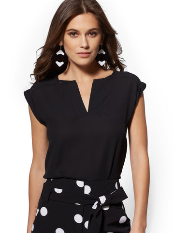 7th Avenue -Split-Neck Blouse in Black