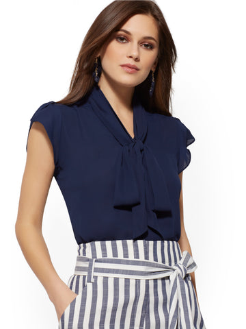 1608529b New York & Company Tulip-Sleeve Bow Blouse - 7th Avenue in Grand Sapphire