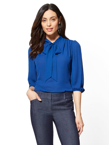 7th Avenue - Split-Neck Bow Blouse in Adriatic Royal