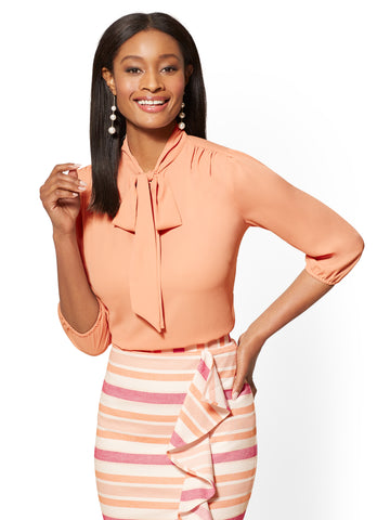7th Avenue - Split-Neck Bow Blouse in Honey Puff