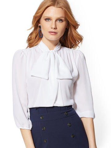 70acae25b46 NEW YORK   COMPANY 7th Avenue - V-Neck Bow Blouse in Paper White