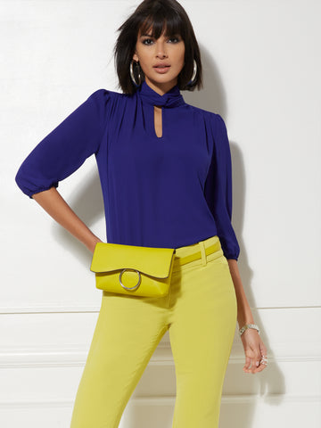 79c0a354bac NEW YORK   COMPANY 7th Avenue - V-Neck Bow Blouse in Amplified Blue