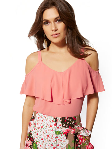 Ruffle Cold-Shoulder Top in Amazing Coral