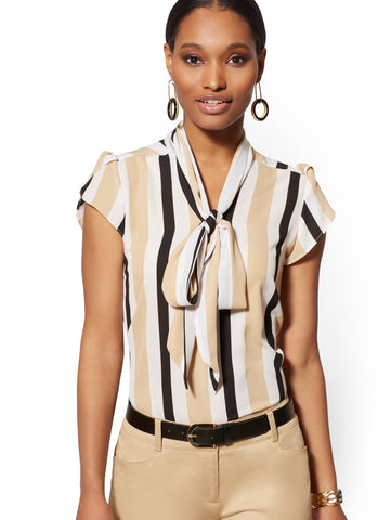 Stripe Tie-Front Blouse - 7th Avenue in Hazelnut Latte