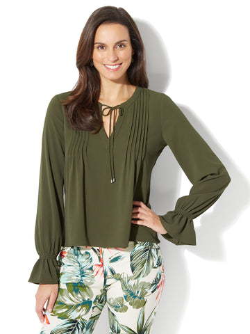Pleated Peasant Blouse in Woodland Green