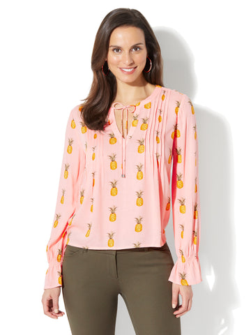 Pleated Peasant Blouse - Pineapple Print in Pink Ambrosia