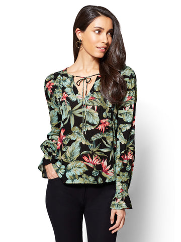 Pleated Peasant Blouse - Floral Print in Black