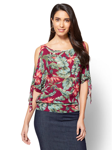 Tie-Sleeve Cold-Shoulder Blouse - Floral Print in Berry Dreams