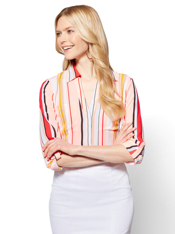 7th Avenue - Madison Soft Shirt - Stripe in Coral Pearls
