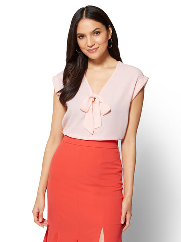 7th Avenue - Tie-Front Blouse - Stripe in Coral Pearls
