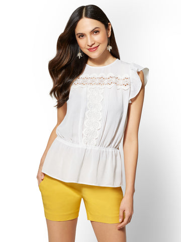 7th Avenue - Lace-Accent Blouse in Paper White