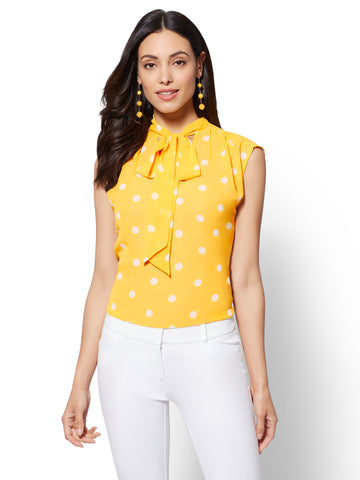 7th Avenue - Dot-Print Bow Blouse in Sunflower Garden