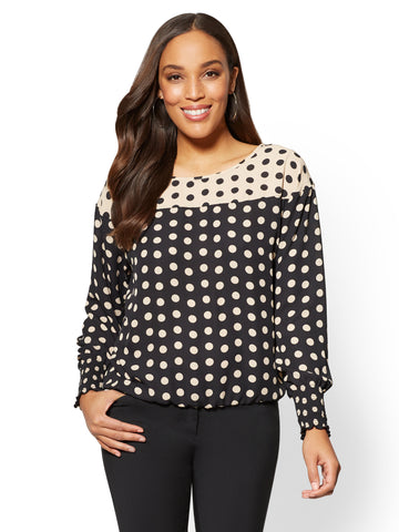 7th Avenue - Two-Tone Dot-Print Blouse in Black