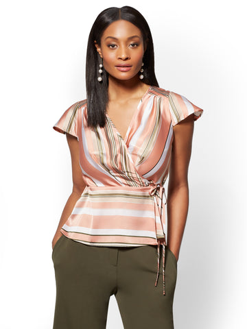 7th Avenue - Striped Wrap Peplum Blouse in Woodland Green