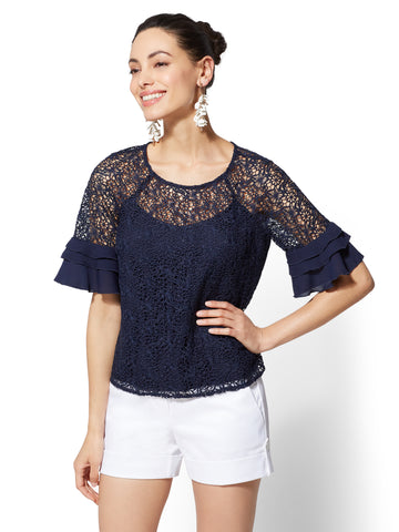 7th Avenue - Lace-Overlay Tiered-Cuff Top in Grand Sapphire