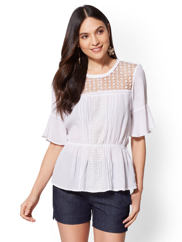 7th Avenue - White Lace-Accent Blouse in Paper White