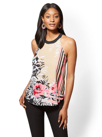 7th Avenue - Mixed-Print Halter Blouse in Charming Pearl