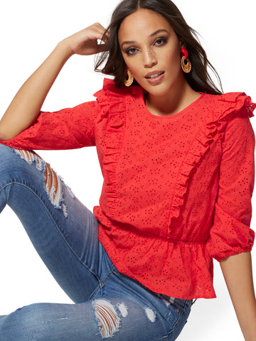 8ec6004abe4a NEW YORK   COMPANY Lily   Cali - Red Eyelet Ruffled Blouse in Bell Pepper  Red